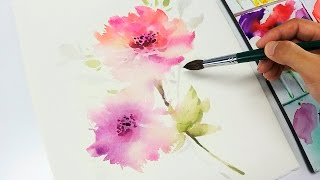 [LVL3] Watercolor flower painting wet into wet
