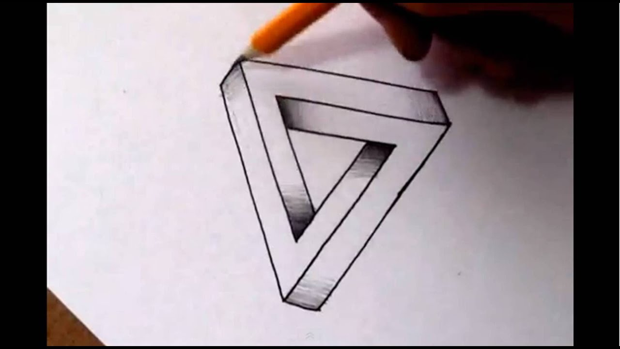 How to draw the impossible triangle optical illusion youtube