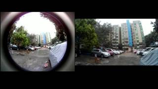 Outdoor Shooting Angle Contrast Between Cube 360 Fisheye WiFi Sport Camera VS SJCAM SJ4000 WiFi