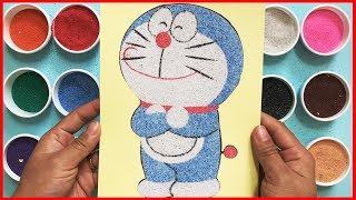 Đồ chơi trẻ em TÔ MÀU TRANH CÁT mèo ú Đôraêmon cùng chị Chim Xinh Learn colors Sand painting toys