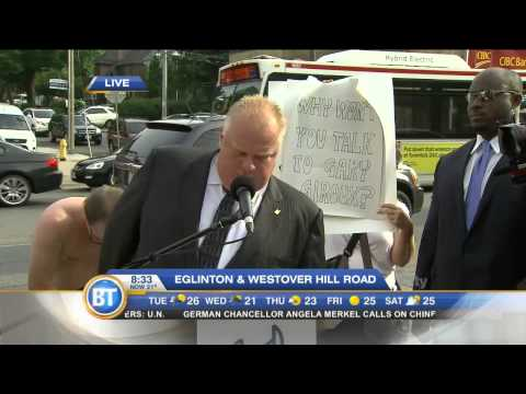 Raw video: Mayor Rob Ford, protestors, at Eglinton Ave. press conference