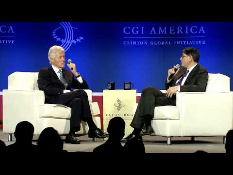 President Bill Clinton talks with Jack Lew - CGI America 2013