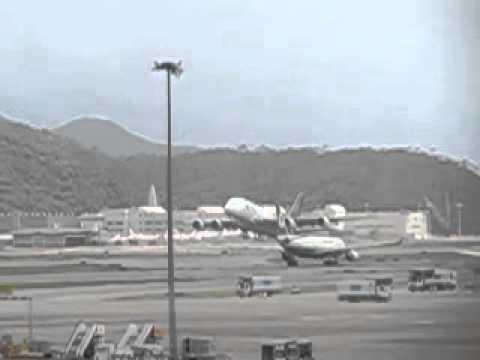 TG A380-800 takeoff @ Hong Kong Chek Lap Kok airport slow motion - Canon SX50 HS