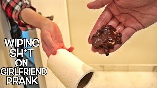Wiping Sh*t On GIRLFRIEND Prank : Bathroom Prank Gone Wrong