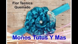 FLOR TECNICA QUEMADO Paso a Paso SINGED SATIN FLOWER Tutorial DIY How To Step by Step PAP