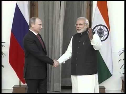 Narendra Modi meets Vladimir Putin at Hyderabad House