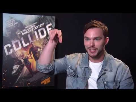 Nicholas Hoult Interview COLLIDE ( AUTOBAHN ) Making Of Stories - nearly got shot