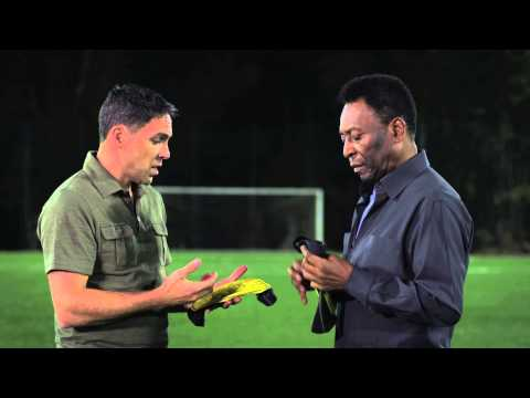 Pelé smashes bottles at World Cup host city to demonstrate new shin guard technology