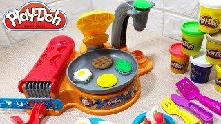 Playdoh Kitchen Creation Làm bữa sáng với trứng ốp la, thịt và bánh Crep - Đồ chơi trẻ em Chim Xinh