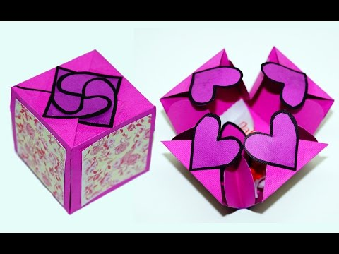 DIY paper crafts idea - Gift box sealed with hearts - a smart way to present your gift / Julia DIY