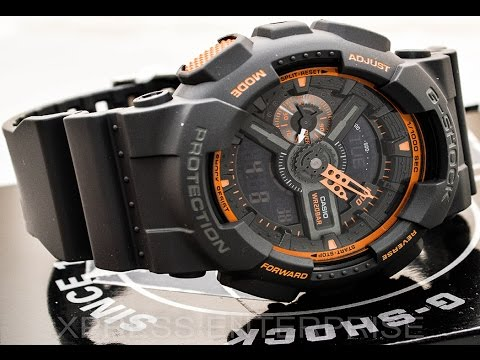 Casio GSHOCK Dark Grey GA110TS-1A4 REVIEW   How To Set Time   LIGHT DISPLAY