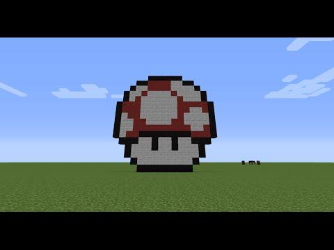 Minecraft Pixel Art Tutorial (Mario Mushroom)