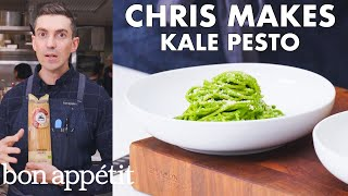 Chris Makes Kale Pesto Pasta | From the Test Kitchen | Bon Appétit