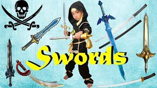 Toy SWORDS Collection | Ninja Sword | Lightsaber | Pirate Sword | Zelda Sword | LRH & Toyz | Ryan