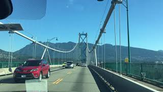 Driving to Sea to Sky Highway, Lions Gate Bridge, Stanley Park, Vancouver, Canada