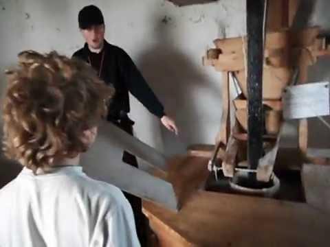 Wales UK - inside an old working flour windmill - worldschooling