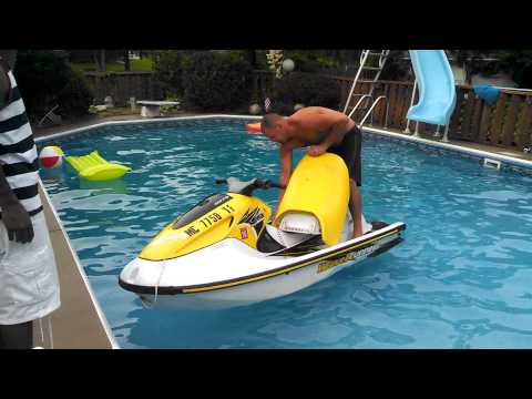 Jet Ski in the pool!! Roy s 4th of July Party!