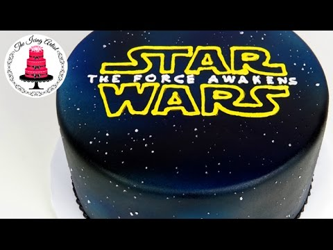 star wars logo galaxy airbrushed cake how to with the