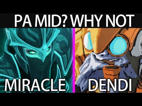 Miracle Use PA to lane with Tinker by Dendi Professional Dota 2 Gameplay