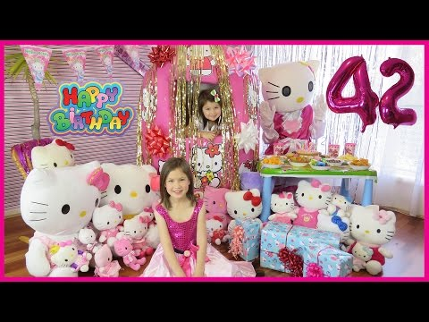 HELLO KITTY BIRTHDAY PARTY Hello Kitty Giant Surprise Egg OPENING HELLO KITTY TOYS  Kids Video Toys