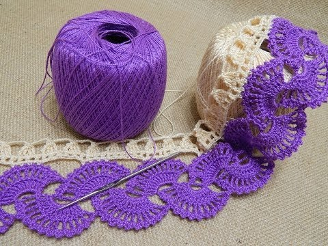 Orilla # 14 Abanicos dos colores Crochet parte 1 de 2 - YouTube