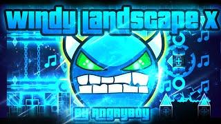 Geometry Dash - Windy Landscape X 100% GAMEPLAY Online (AngryBoy) MEDIUM DEMON