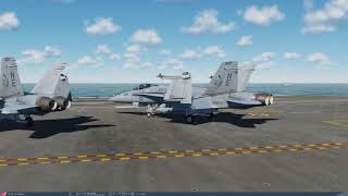 DCS World 2.5.2: F/A-18C Carrier Startup and Takeoff  (1440p)