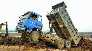 Xe ô tô tải ben đổ đất, máy xúc, máy ủi làm việc | dump truck, excavator, bulldozer dance