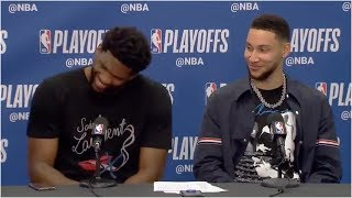 Ben Simmons & Joel Embiid can't stop laughing as he apologizes for his flagrant foul