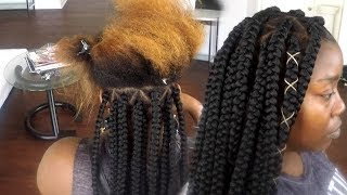 How To Tuck Colored Hair Into Braiding Hair - Jumbo Box Braids - Views from a Living Room Stylist