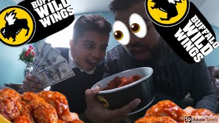 13 year old eats buffalo wild wings blazin wings with my brother