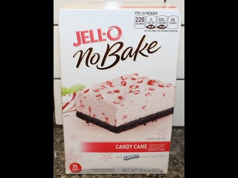 Making JELL-O No Bake Candy Cane Dessert With Oreo Cookie Crust