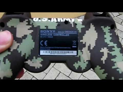 Custom PS3 Control with digital cammo paint & Green LED mod.mp4