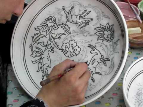 Hand painting a ceramic bowl youtube for How to make ceramic painting
