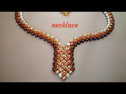 Necklace. Колье из бусин и биконусов. Мастер-класс