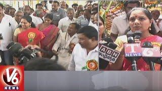 MP Kavitha And Etela Rajender Visits Teegala Gutta Palli Durga Bhavani Temple