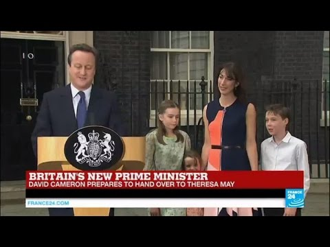 Britain's new prime minister: David Cameron speaks outside of 10 Downing Street for last time
