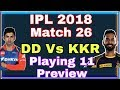 Match 26, DD Vs KKR / Playing 11 and Match Preview / Russell Injury News / MP3