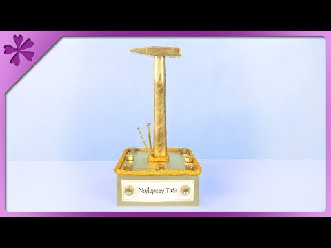DIY How to make golden hammer statuette, gift for Father's Day (ENG Subtitles) - Speed up #367