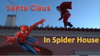 Santa Claus goes to spider house by the chimney while Spiderman, Frozen and Minispider are sleeping