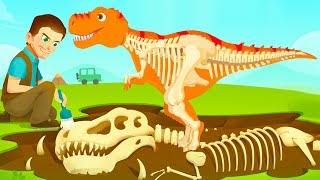 Fun Jurassic Dig Kids Games - Baby Find Dinosaur Bones With Cute Vehicles - Dino Game For Kids