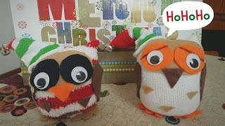 Gufetto di Natale con calzino tutorial,Christmas Owl sock Tutorial,easy project