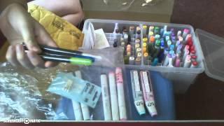 Art supplies unboxing/Copic Originals & Glitter pen Review