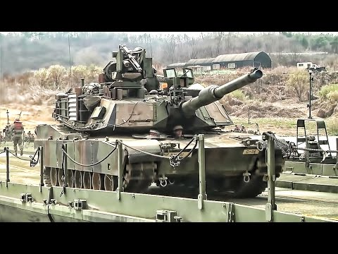 U.S. Army Builds Floating Bridge & Crosses It With Tanks