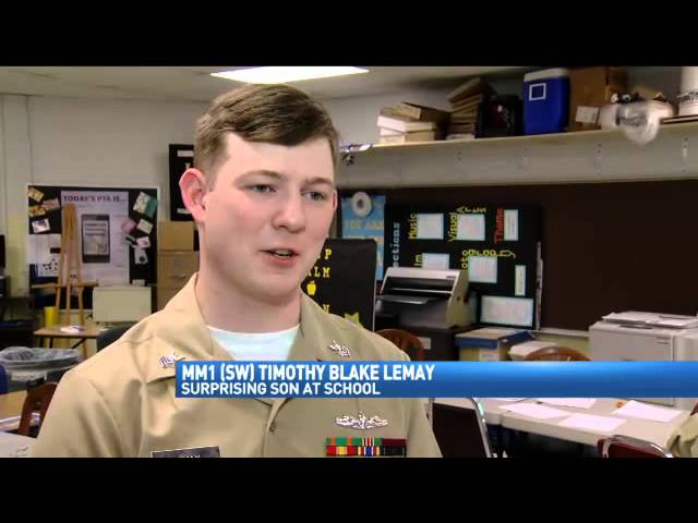 Sailor Returns Home, Surprises 5-Year-Old Son at Snow Hill Elementary