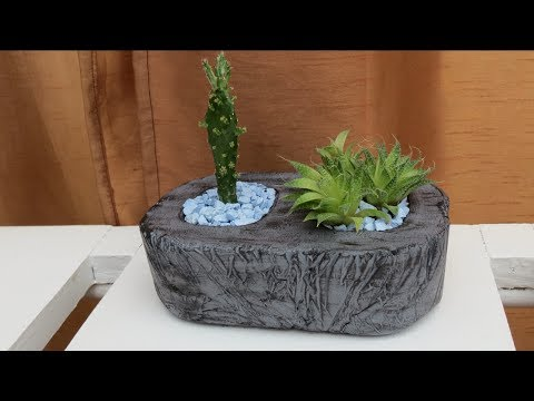 Schale aus Zement für Pflanzen selber machen .