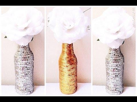 Garrafa decorada com lantejoula