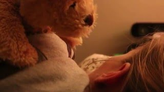 Teddy bear came alive to hug and kiss a girl HD