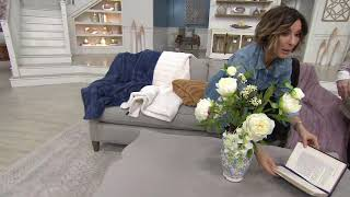 Peony and Wisteria Arrangement in Blue and Cream Vase by Peony on QVC