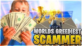 The Worlds Greediest Scammer Ever Scams Himself! (Scammer Get Scammed) Fortnite Save The World